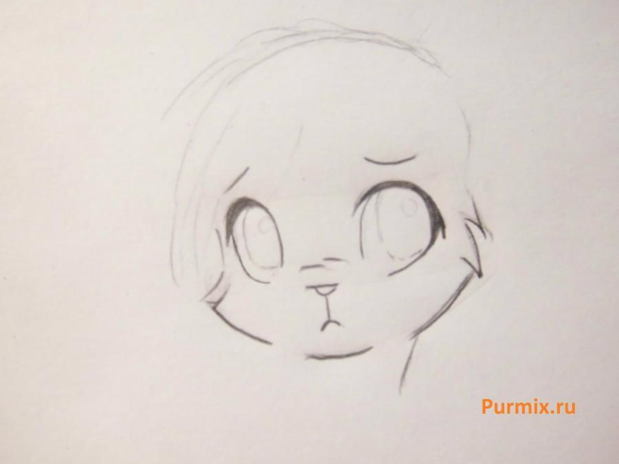 How to draw a stesnyashka neko with a simple pencil 3