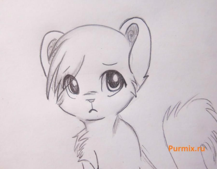 How to draw a stesnyashka neko with a simple pencil 8