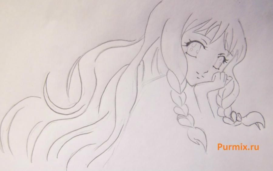 How to draw Yukari Sendo from Rosario + the Vampire with a simple pencil 4