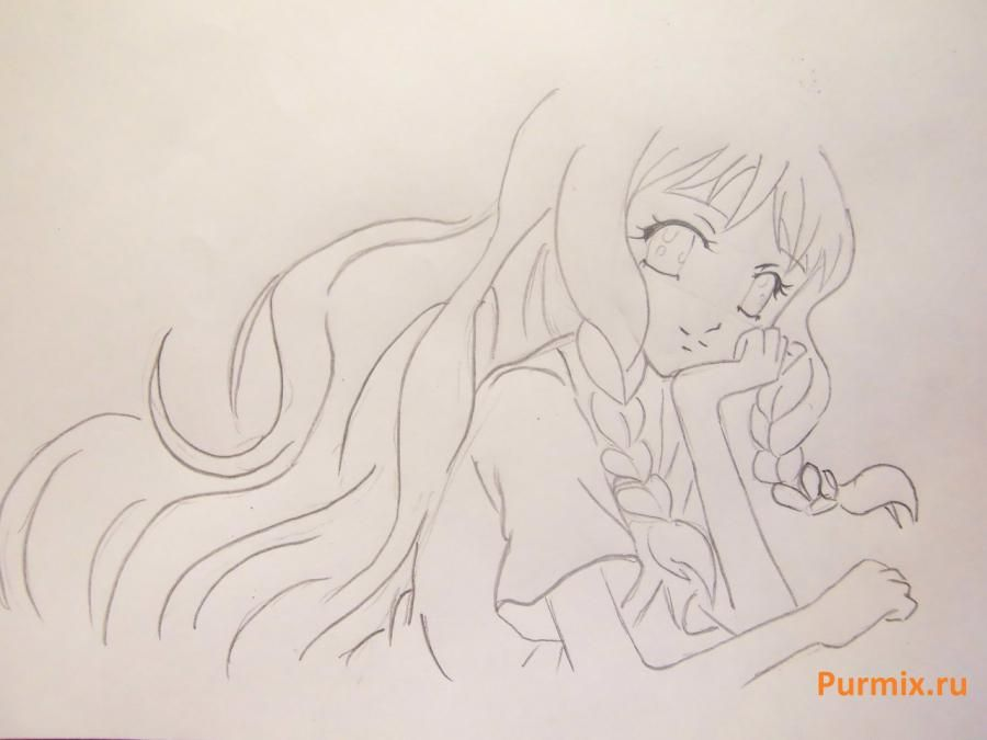 How to draw Yukari Sendo from Rosario + the Vampire with a simple pencil 5