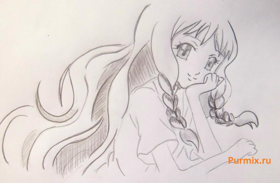 How to draw Yukari Sendo from Rosario + the Vampire with a simple pencil 7