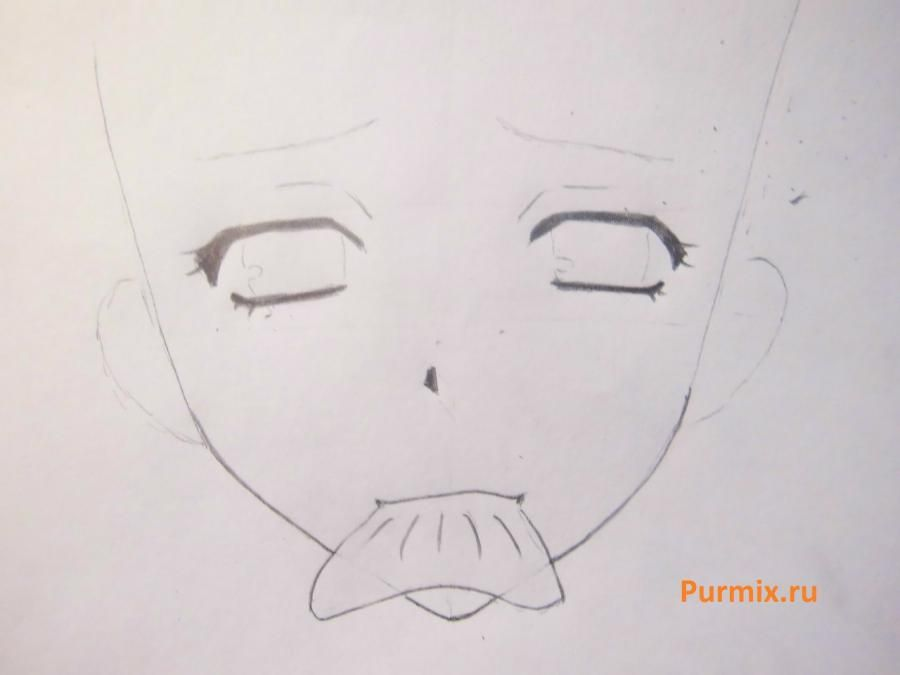 We learn to draw a lovely anime of a lisyonok a simple pencil 3