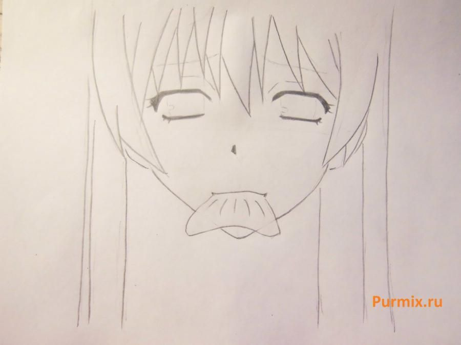 We learn to draw a lovely anime of a lisyonok a simple pencil 4