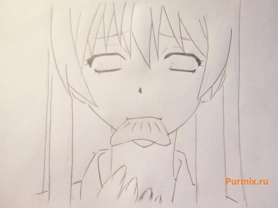 We learn to draw a lovely anime of a lisyonok a simple pencil 5