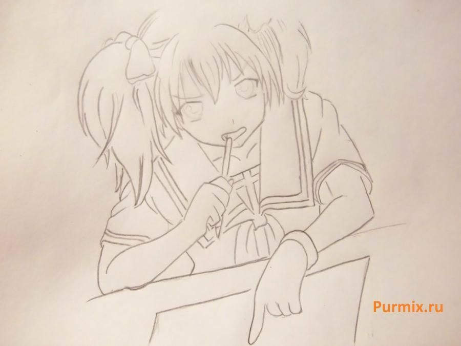 We learn to draw Sidzuka Nekonome from Rosario's anime + the Vampire a pencil 5