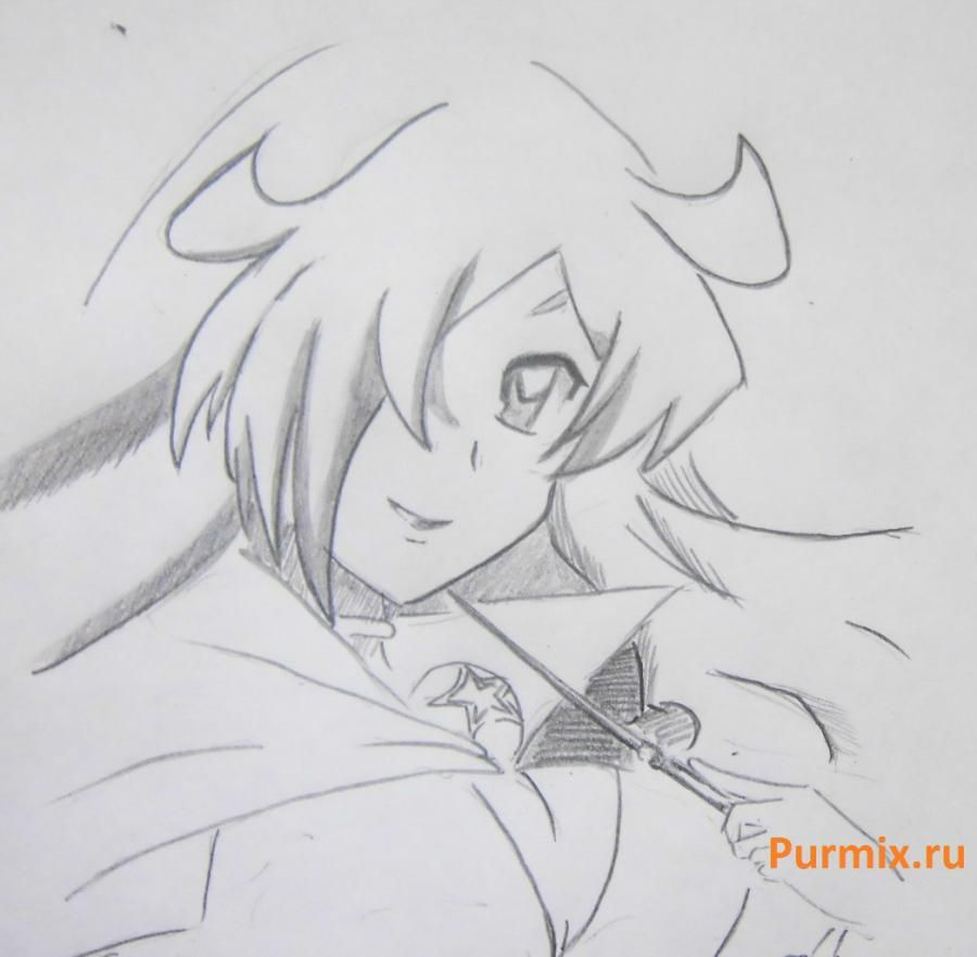 We learn to draw Savako Yamanaka from an anime of K-on a pencil step by step 6