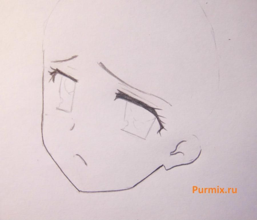 How to draw Ritsu Tainak from an anime of K-on with a pencil step by step 3