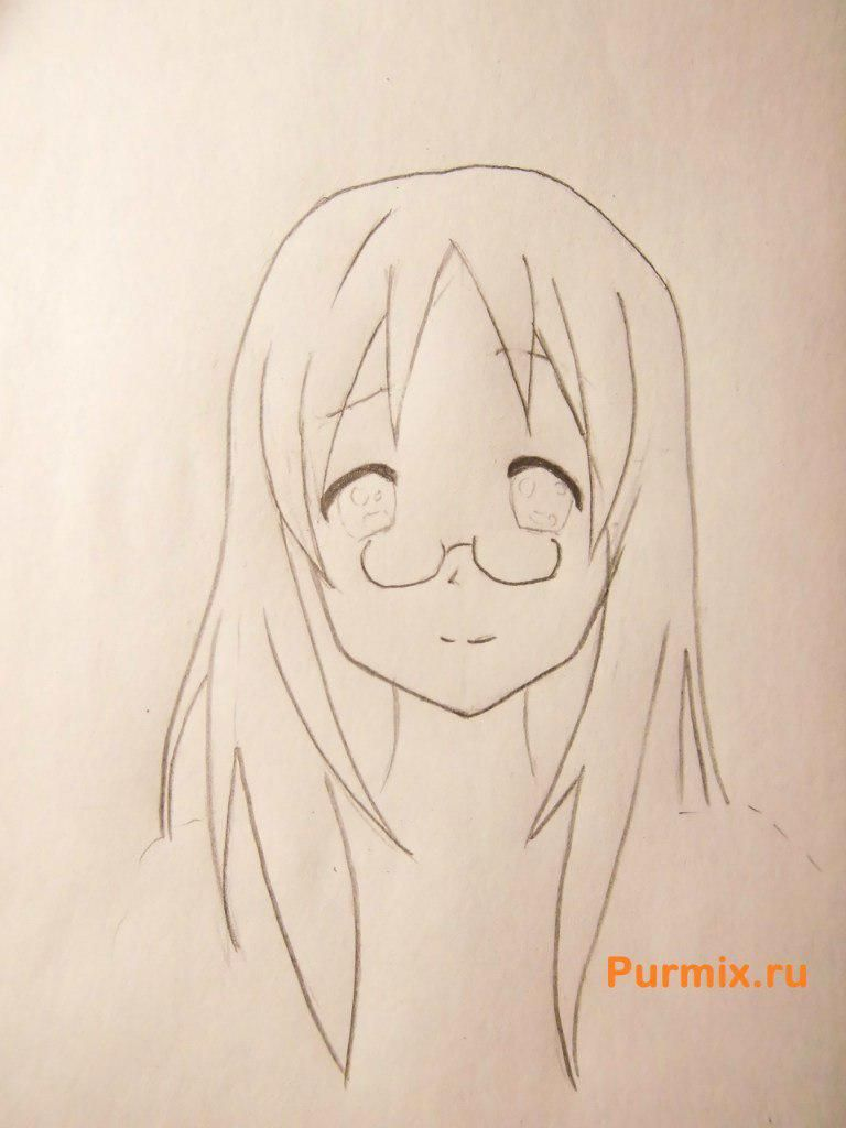 How to draw Adzusa Nakano from an anime of K-on with a pencil 4