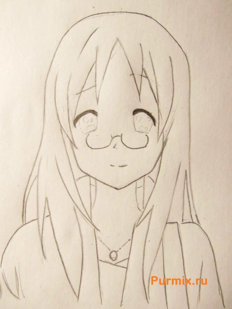 How to draw Adzusa Nakano from an anime of K-on with a pencil 5