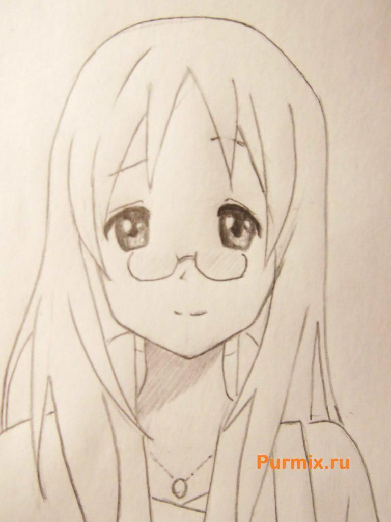 How to draw Adzusa Nakano from an anime of K-on with a pencil 6