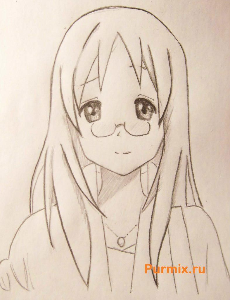 How to draw Adzusa Nakano from an anime of K-on with a pencil 7