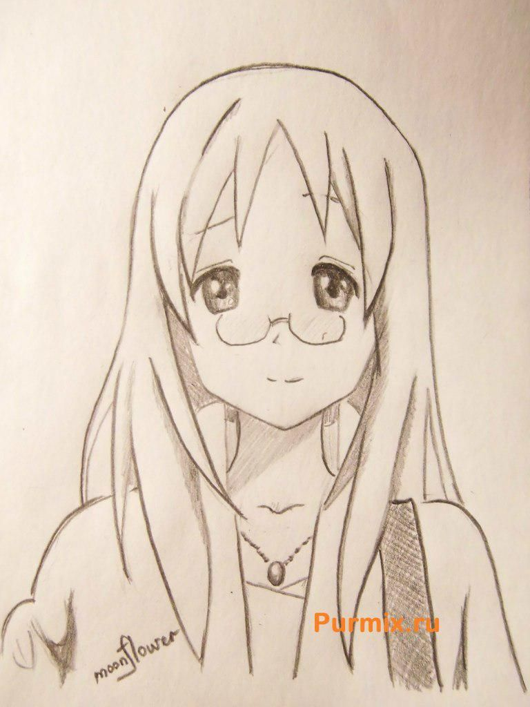 We learn to draw Savako Yamanaka from an anime of K-on a pencil step by step
