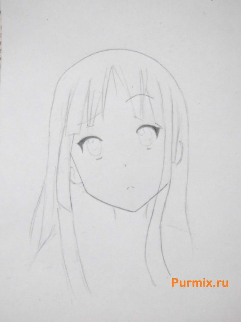 How to draw Yu Hirasavu from an anime Club of a light music with a pencil 4