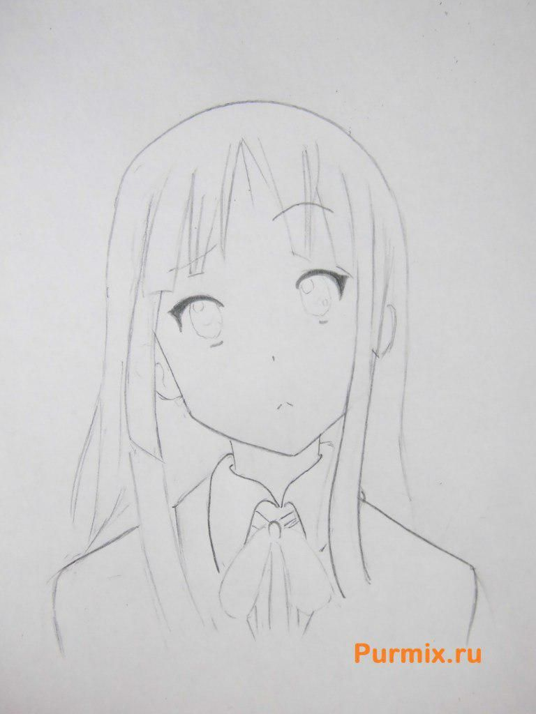 How to draw Yu Hirasavu from an anime Club of a light music with a pencil 5