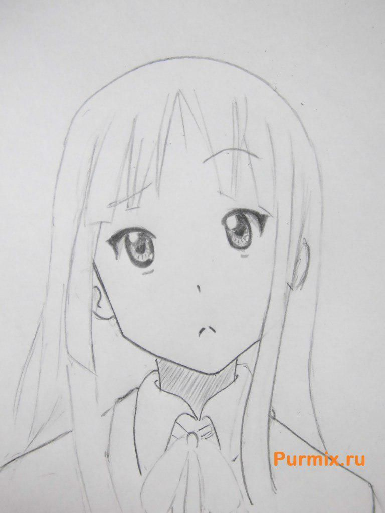 How to draw Yu Hirasavu from an anime Club of a light music with a pencil 6