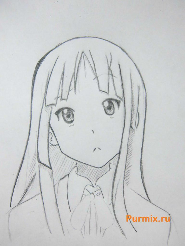How to draw Yu Hirasavu from an anime Club of a light music with a pencil 7
