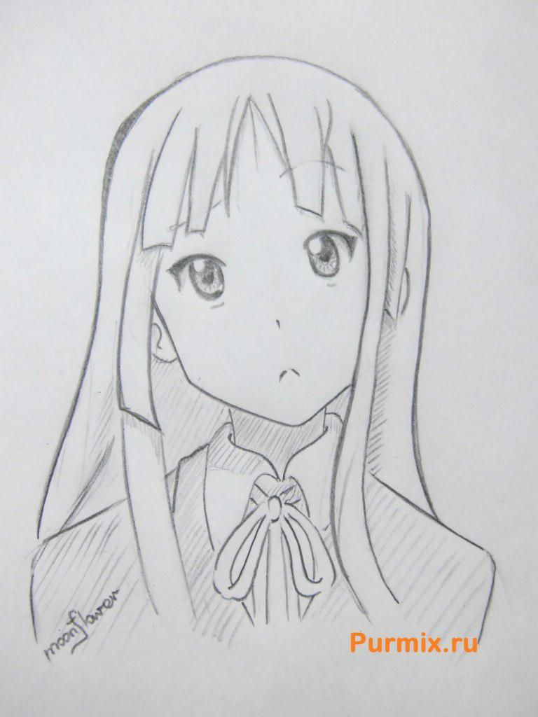 We learn to draw Mio Akiyama from an anime of K-on a simple pencil