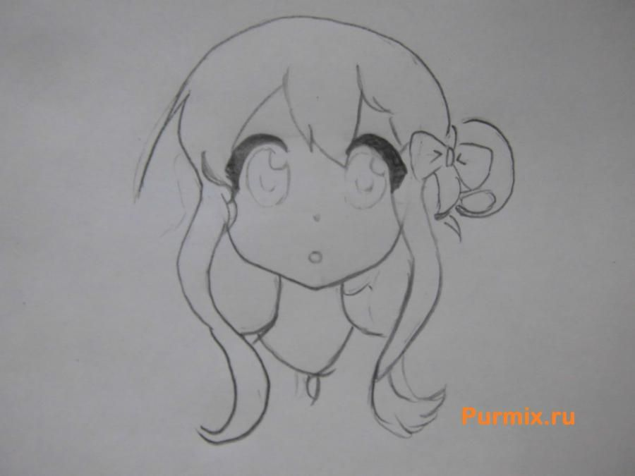 We learn to draw an anime the girl a simple pencil step by step 4