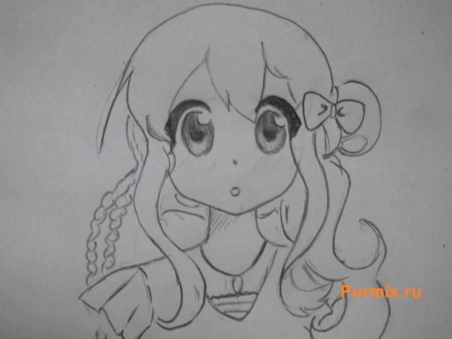 We learn to draw an anime the girl a simple pencil step by step 6