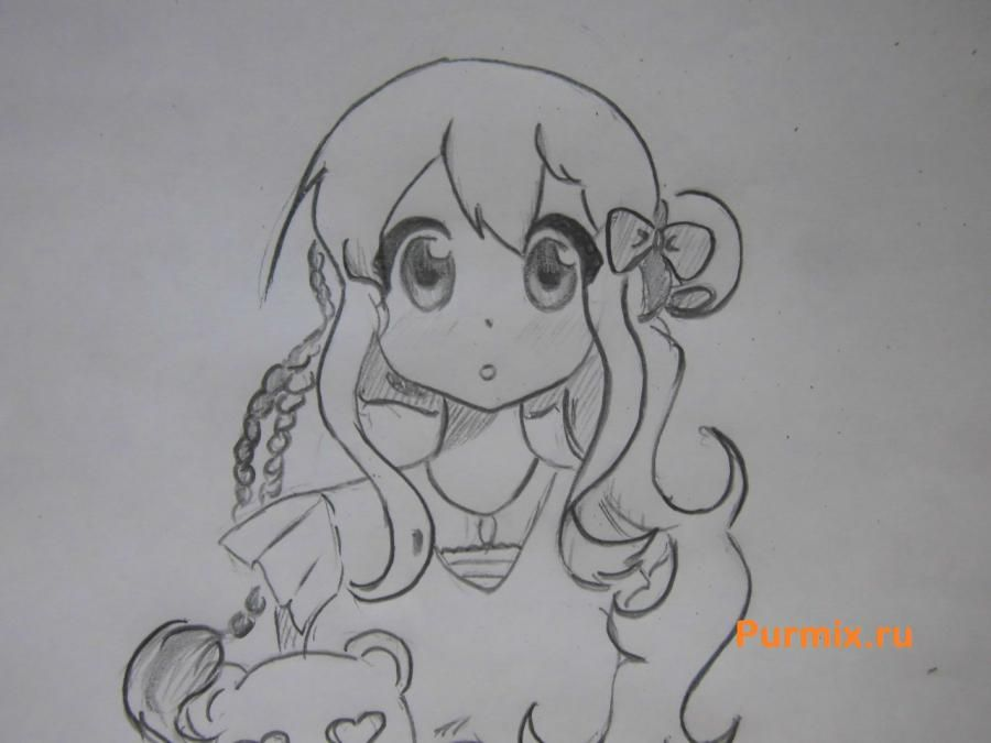 We learn to draw an anime the girl a simple pencil step by step 7