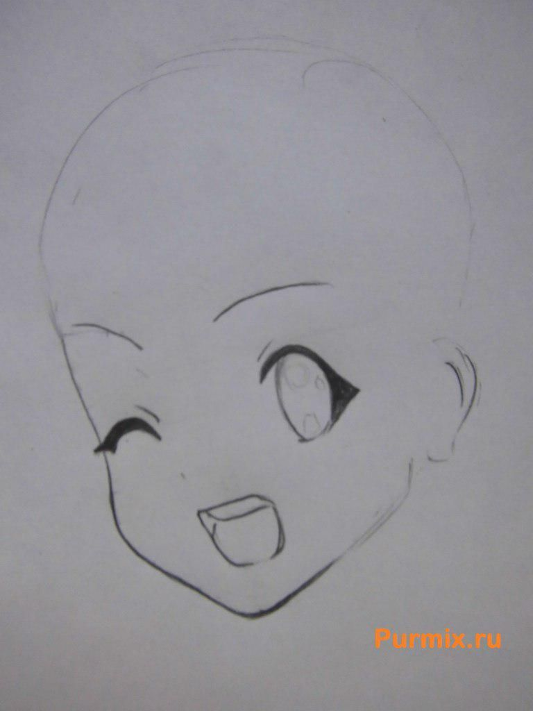 How to draw Ritsu Tainak from an anime of K-on with a pencil 3