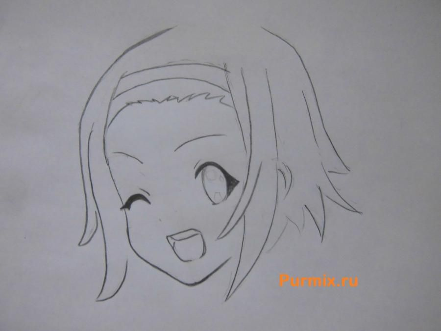 How to draw Ritsu Tainak from an anime of K-on with a pencil 4