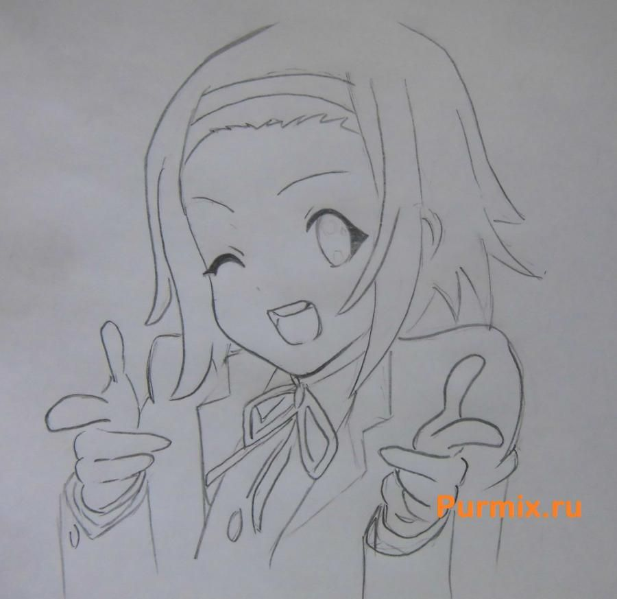How to draw Ritsu Tainak from an anime of K-on with a pencil 5
