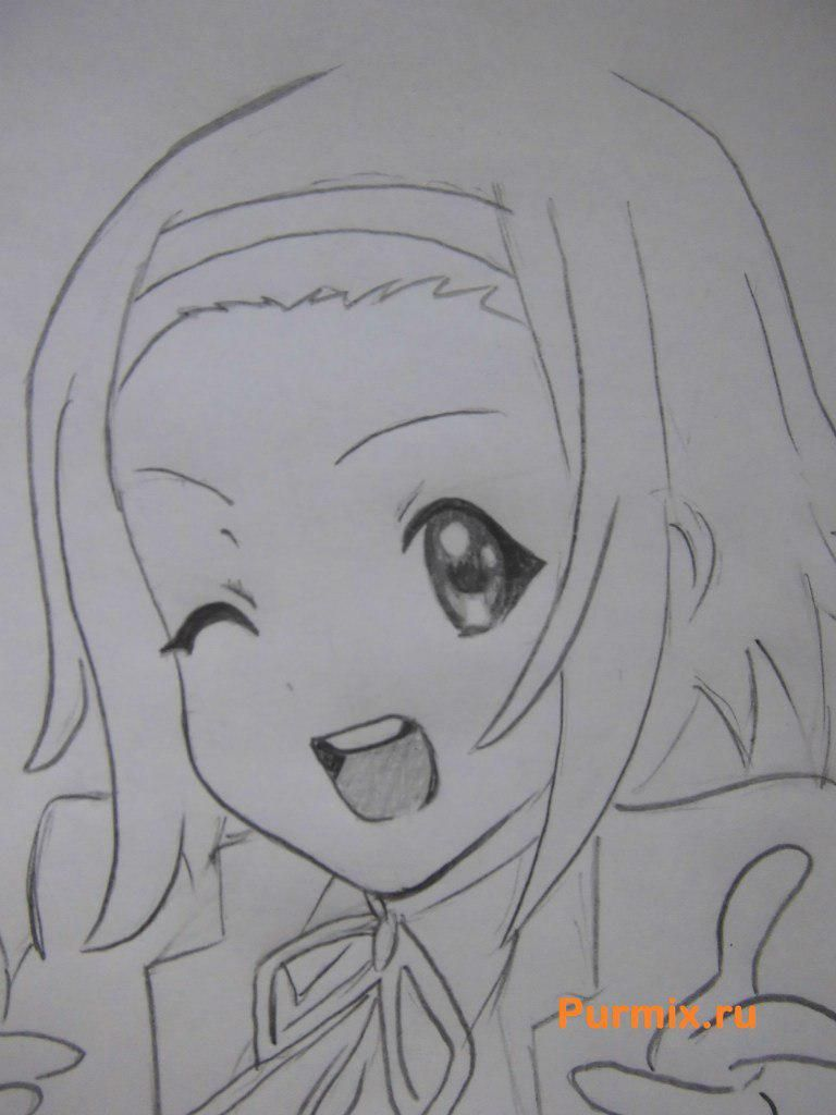 How to draw Ritsu Tainak from an anime of K-on with a pencil 6