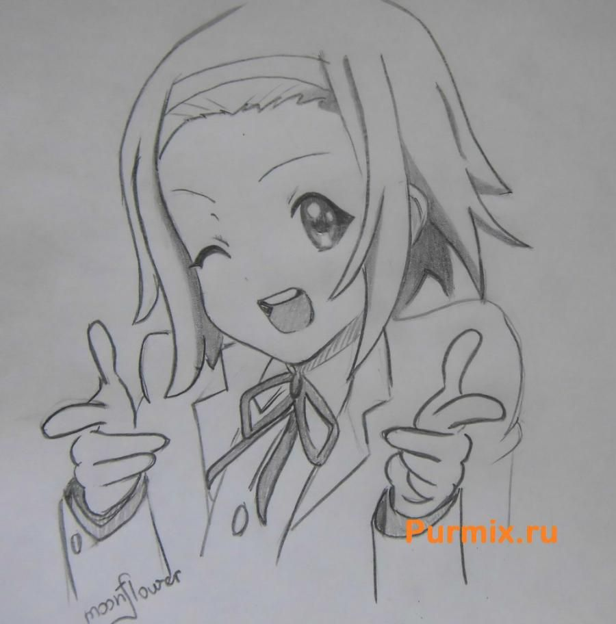 How to draw Ritsu Tainak from an anime of K-on with a pencil step by step