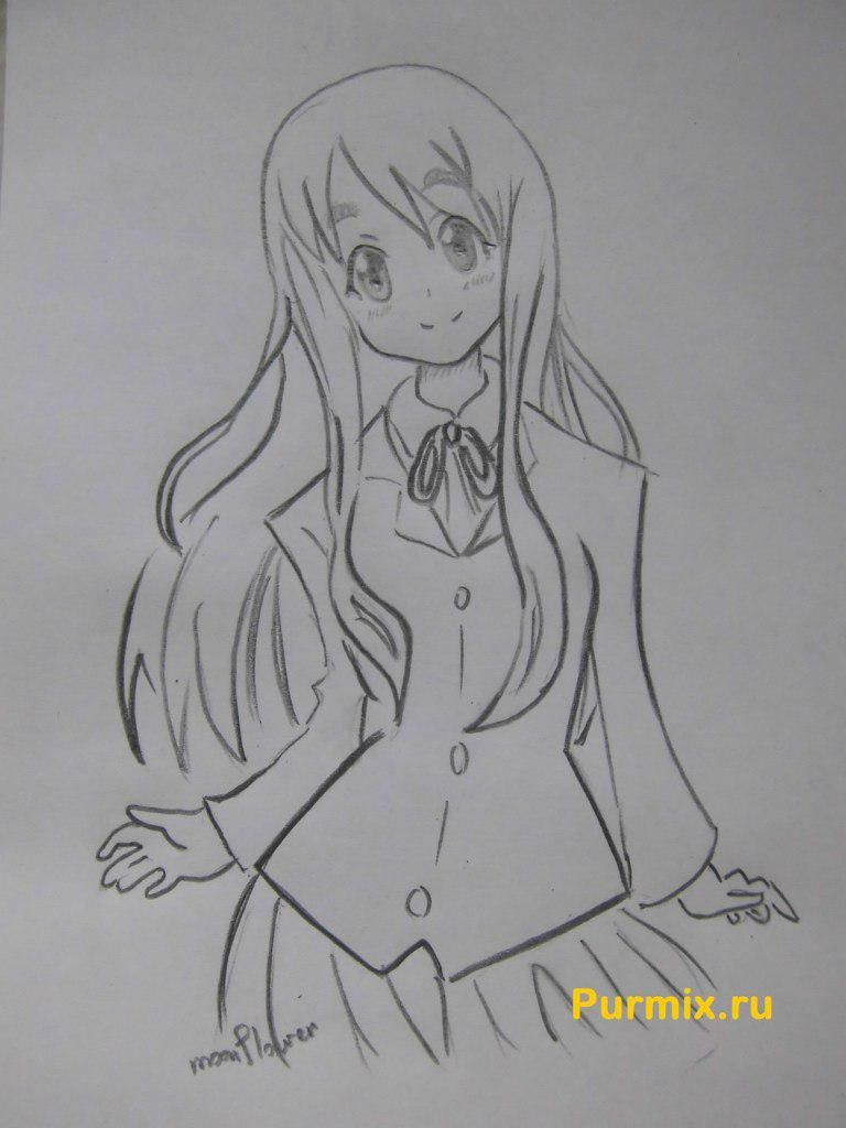 How to draw Tsumugi Kotobuki from an anime of K-on with a pencil step by step