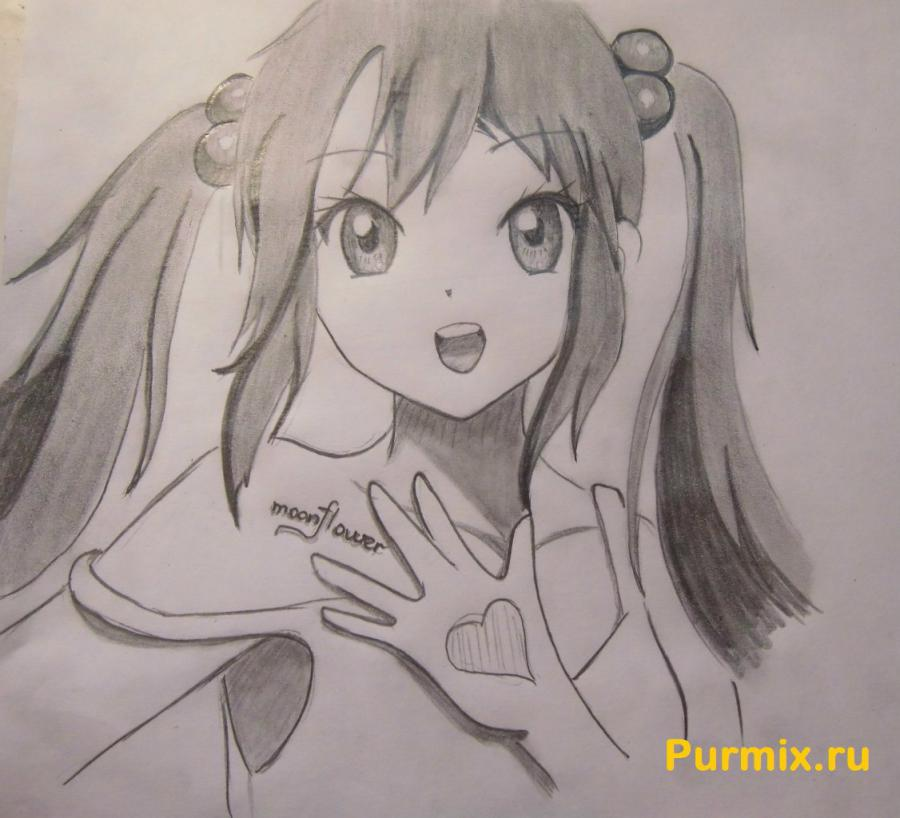 How to draw Adzusa Nakano from an anime of K-on with a pencil