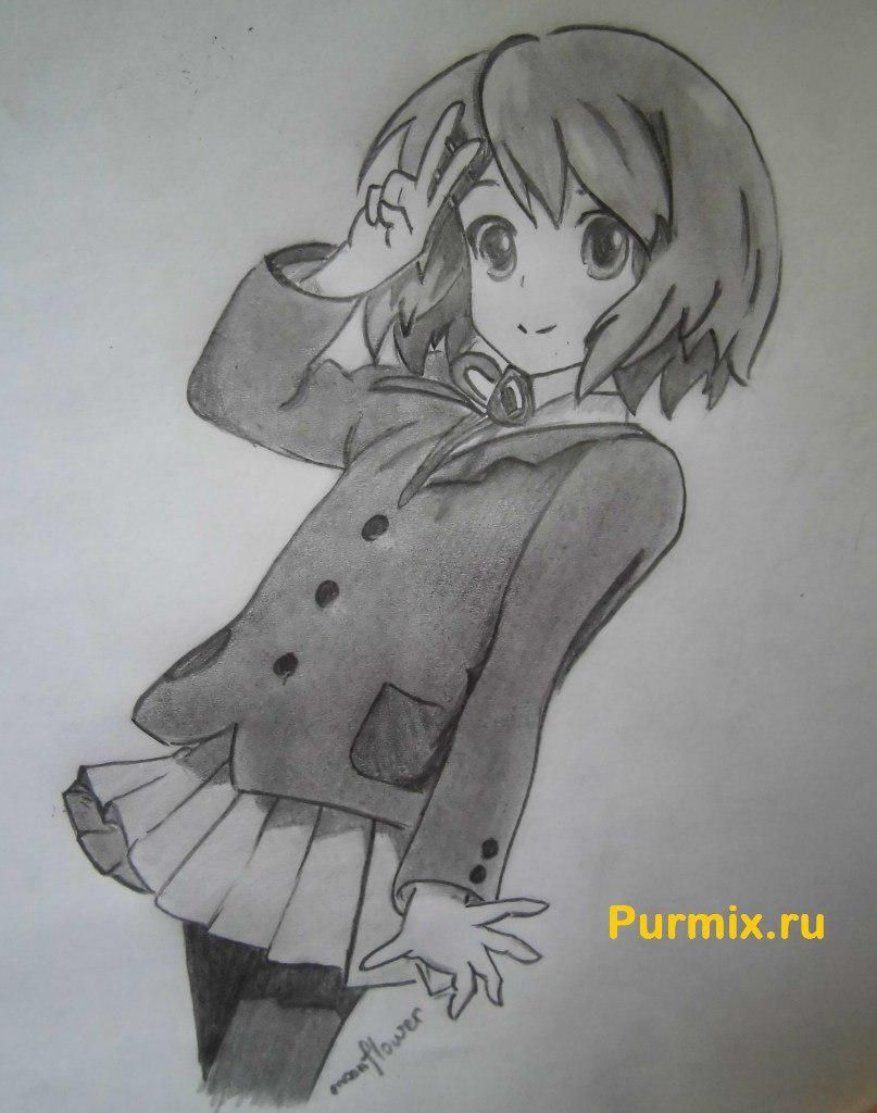 How to draw Yu Hirasavu from an anime Club of a light music with a pencil