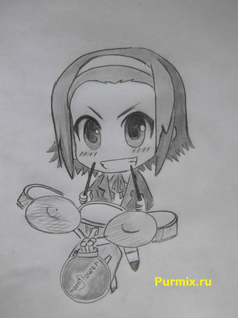 How to draw Ritsu Tainak from an anime of K-on with a pencil