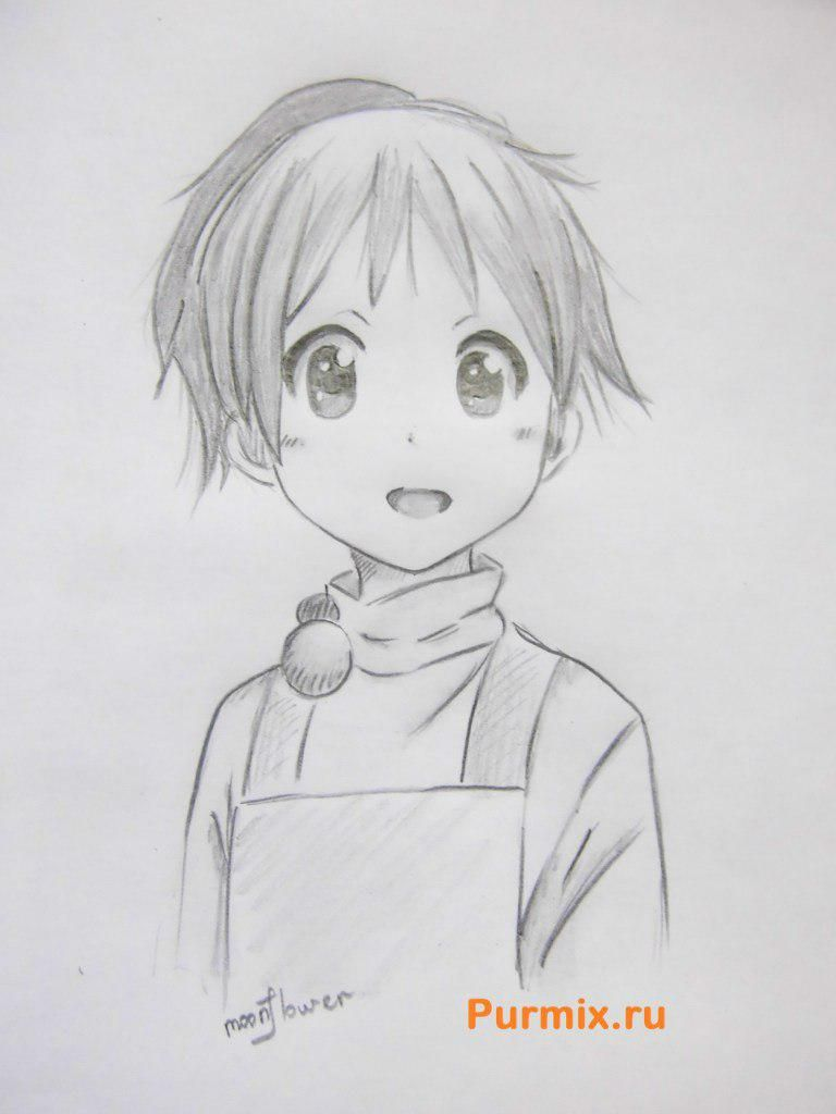 How to draw Ui Hirasava from an anime of K-on with a pencil step by step