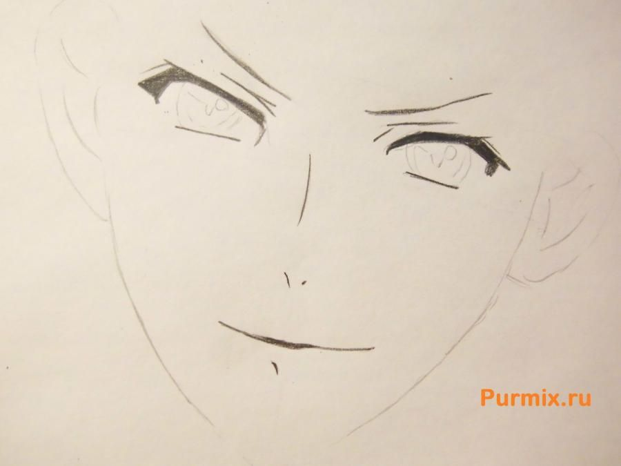 How to draw Ai Sindo from an anime beyond with a pencil step by step 3