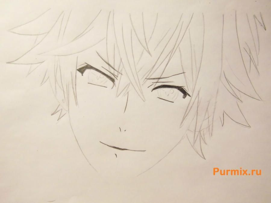 How to draw Ai Sindo from an anime beyond with a pencil step by step 4