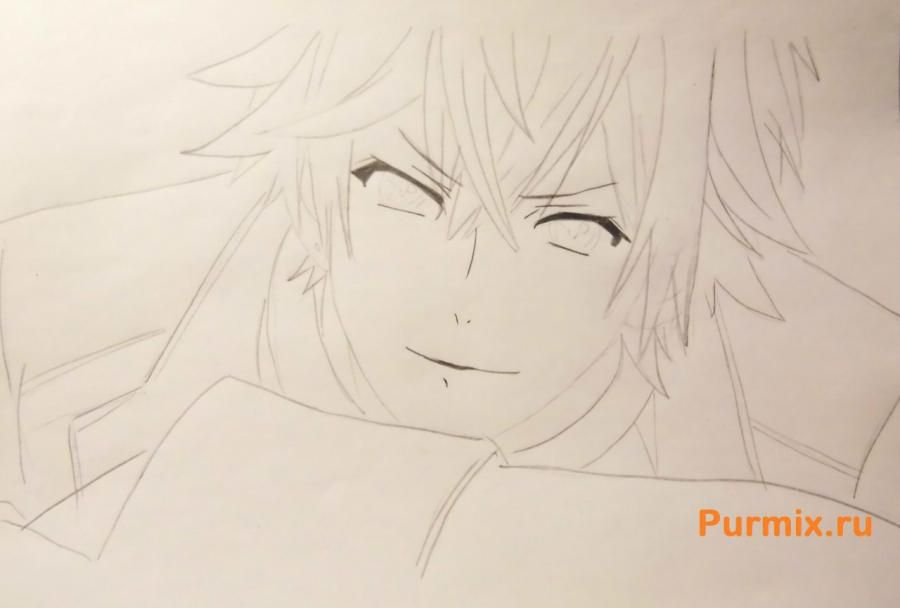 How to draw Ai Sindo from an anime beyond with a pencil step by step 5