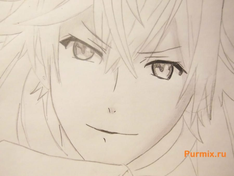 How to draw Ai Sindo from an anime beyond with a pencil step by step 6