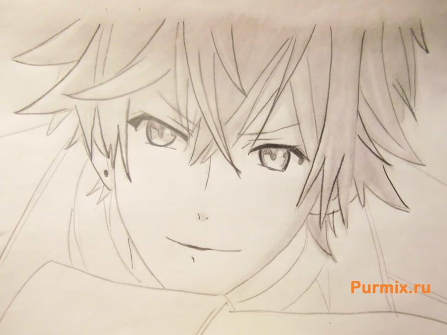 How to draw Ai Sindo from an anime beyond with a pencil step by step 7