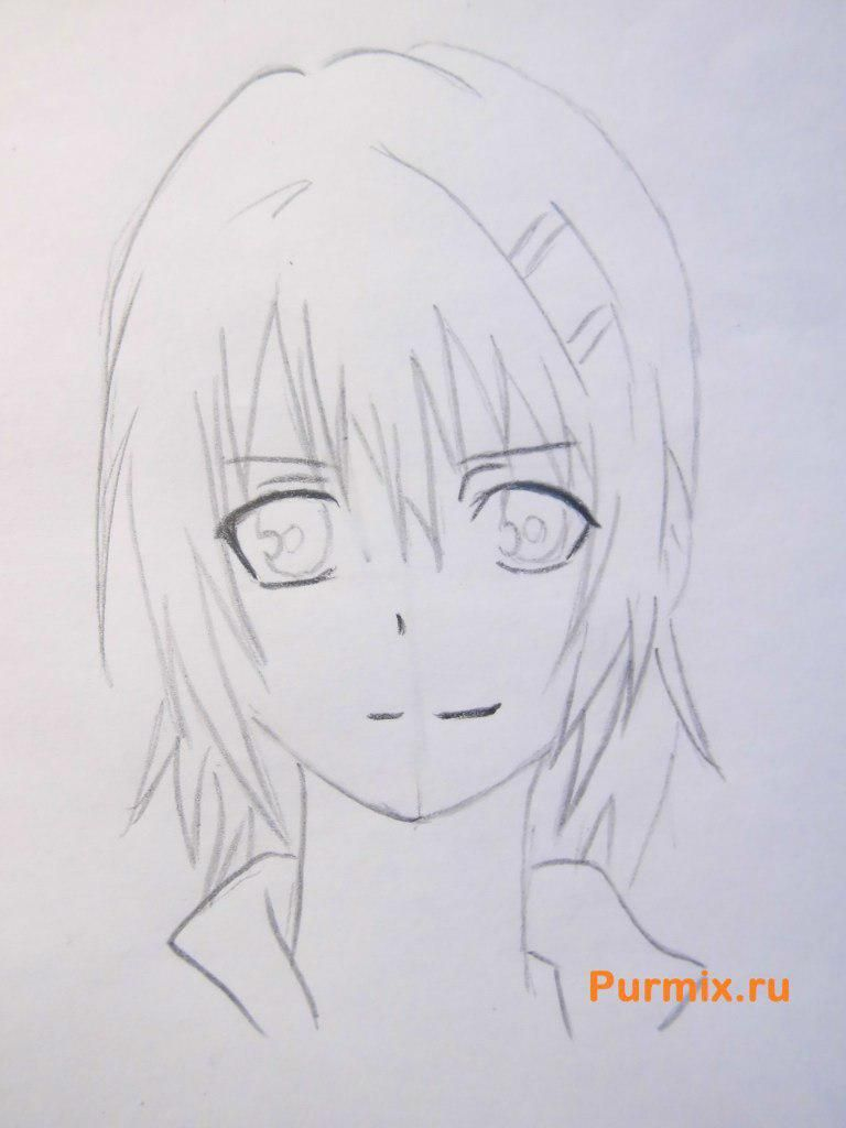 How to draw to Ruhr from an anime the Monochrome factor with a pencil 5