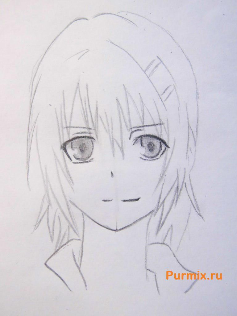 How to draw to Ruhr from an anime the Monochrome factor with a pencil 6