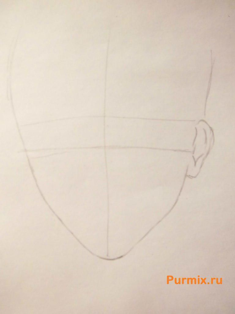 How to draw Akihito Kambar from an anime beyond with a pencil 2