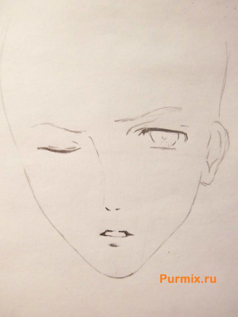 How to draw Akihito Kambar from an anime beyond with a pencil 3