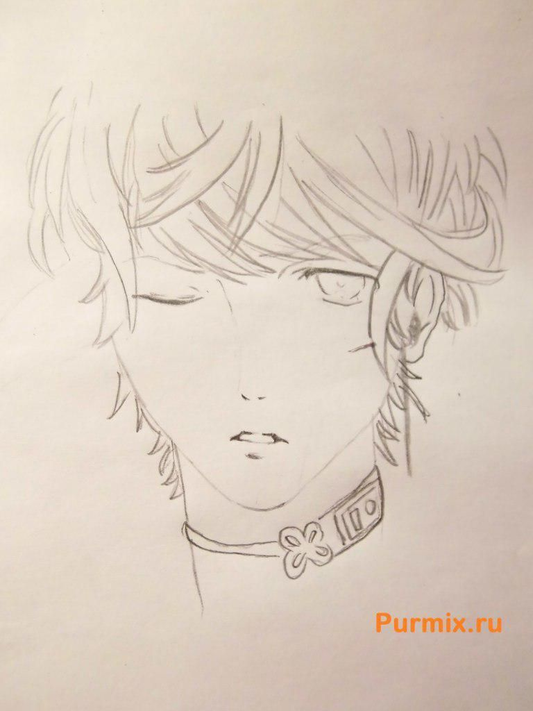 How to draw Akihito Kambar from an anime beyond with a pencil 4