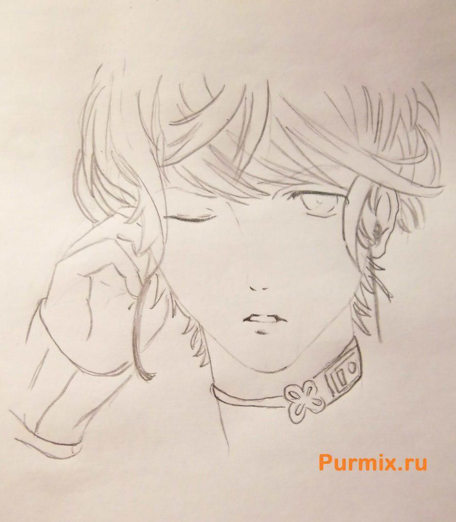 How to draw Akihito Kambar from an anime beyond with a pencil 5