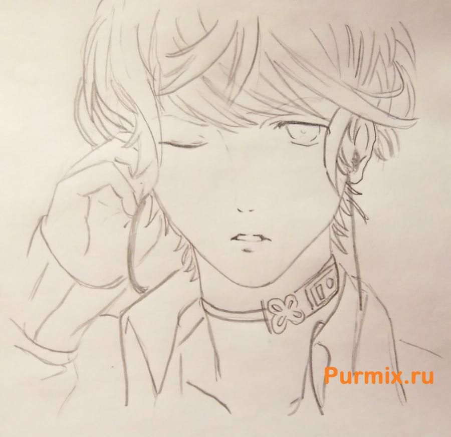 How to draw Akihito Kambar from an anime beyond with a pencil 6