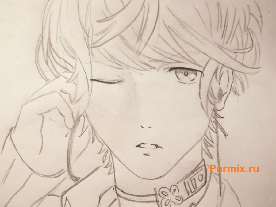 How to draw Akihito Kambar from an anime beyond with a pencil 7