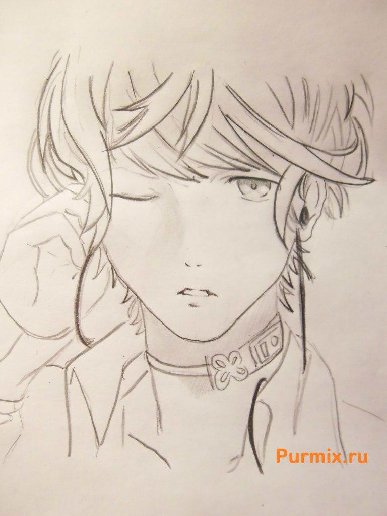 How to draw Akihito Kambar from an anime beyond with a pencil 8