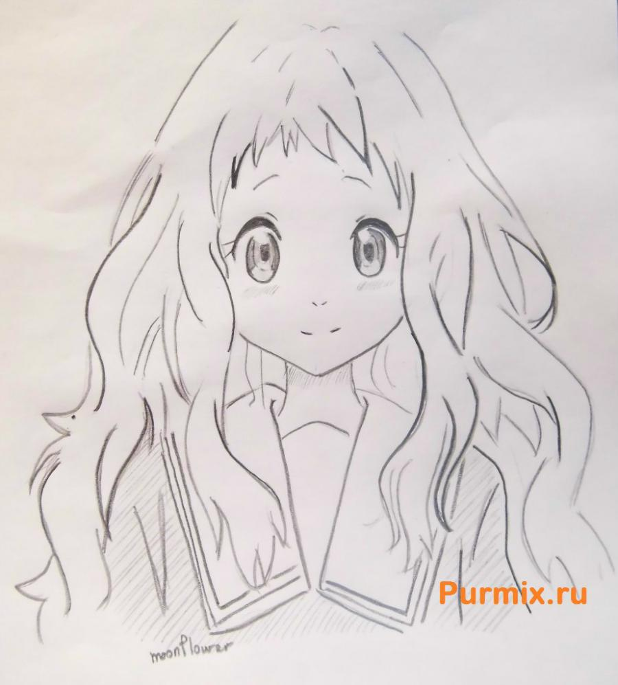 How to draw Ai Sindo from an anime beyond with a pencil step by step