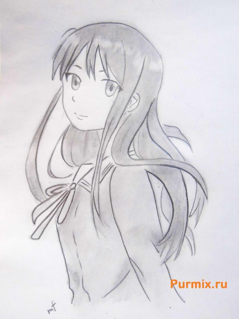 How to draw Mitsuki Nase from an anime beyond with a pencil step by step